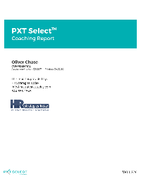 PXT Select Coaching Report